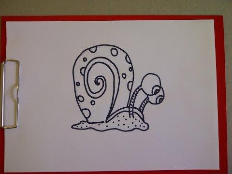 Spongebob Schwammkopfs Schnecke Gary malen. Zeichnen lernen für Anfänger und Kinder