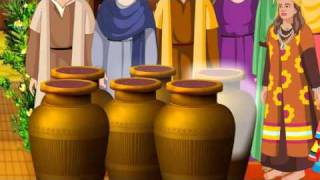 Jesus Turns Water into Wine In The Wedding At Cana ( Bible Cartoon stories for kids in English )