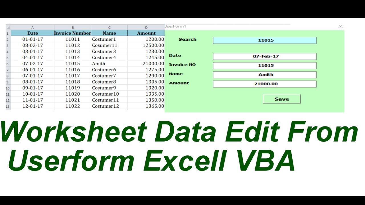 Worksheet Data Edit From Userform EXcell VBA