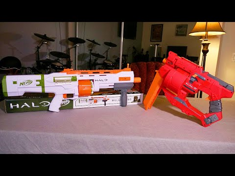 Nerf Halo Infinite Bulldog SG and Mangler: Full unboxing and firing test
