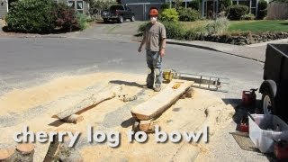 Cherry Log To Wood Turned Bowl