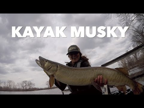 Girl Catches BIG MUSKY Alone From KAYAK