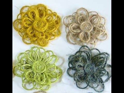 Twine flower tutorial:How to:Handmade:DIY