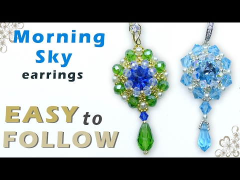 How to make earrings with Swarovski elements . Beading design