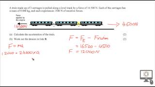Tension problem solution f๐r SQA CfE Higher Physics - Train carriage