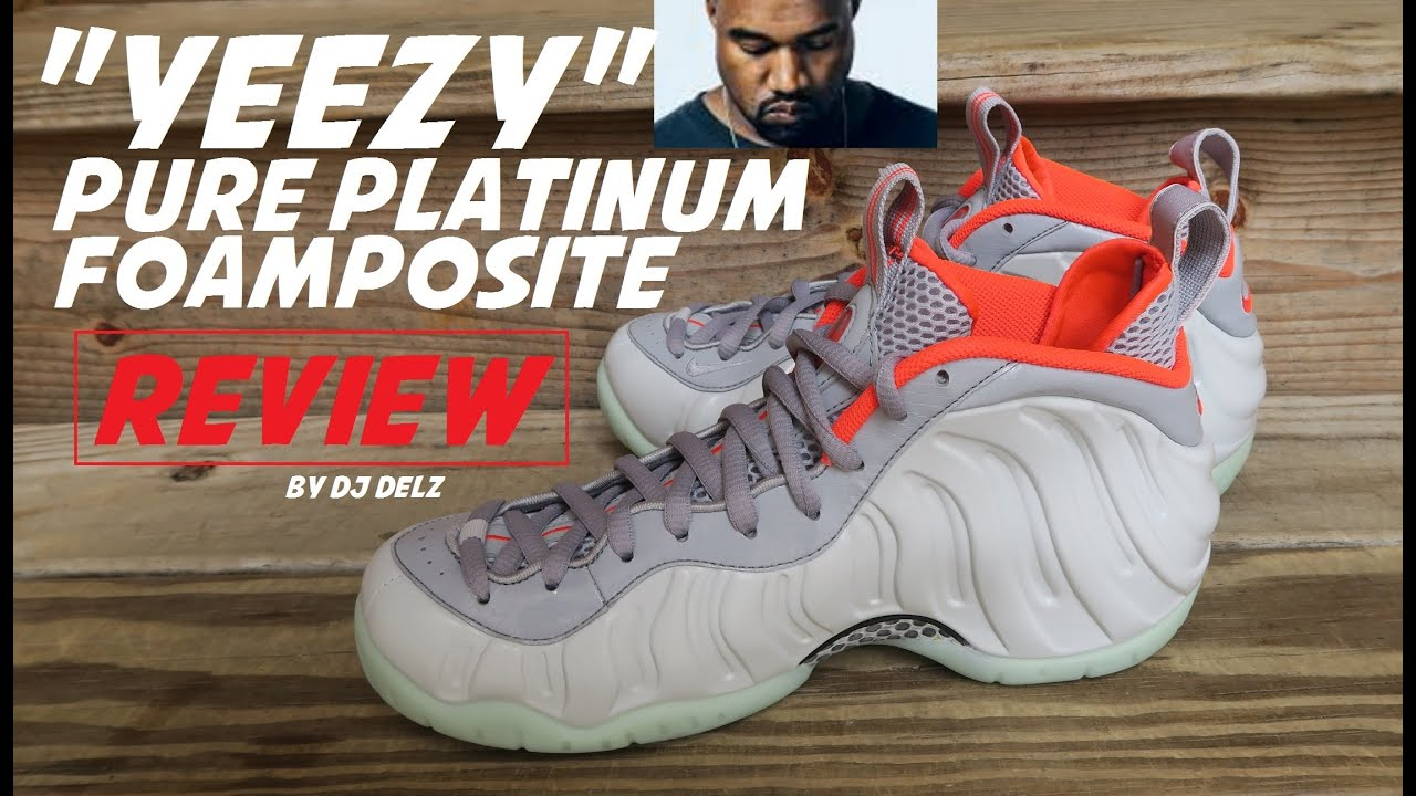 895d2e74998 Nike Air Foamposite Pure Platinum Yeezy Sneaker Review With Comparison To Kanye s  Shoe + Glow Test
