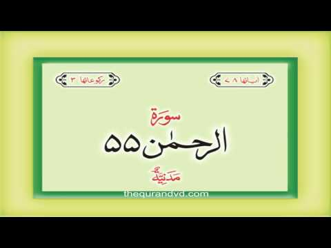 55. Surah Ar Rahman with audio Urdu Hindi translation Qari Syed Sadaqat Ali
