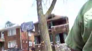 Guy's stealing bricks off a house in broad day light. THESHEASHOW.COM