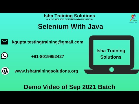 Download Selenium with Java Demo Video On 2nd Sep 2021. Call or whatsapp us on +91-8019952427 to enroll