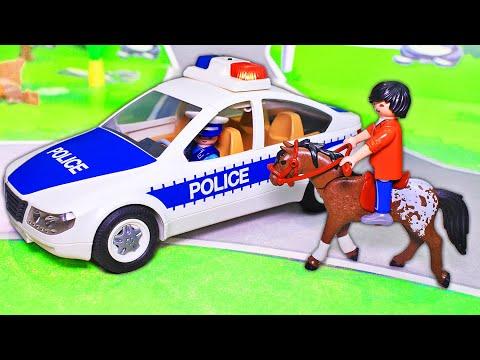 Мультики про машинки с игрушками плеймобил – Лошадка - про полицию и про спасателей Весёлые мультяхи