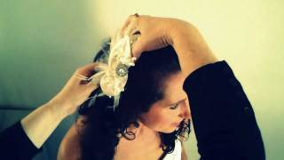 Placing wedding fascinator in hair Thumbnail