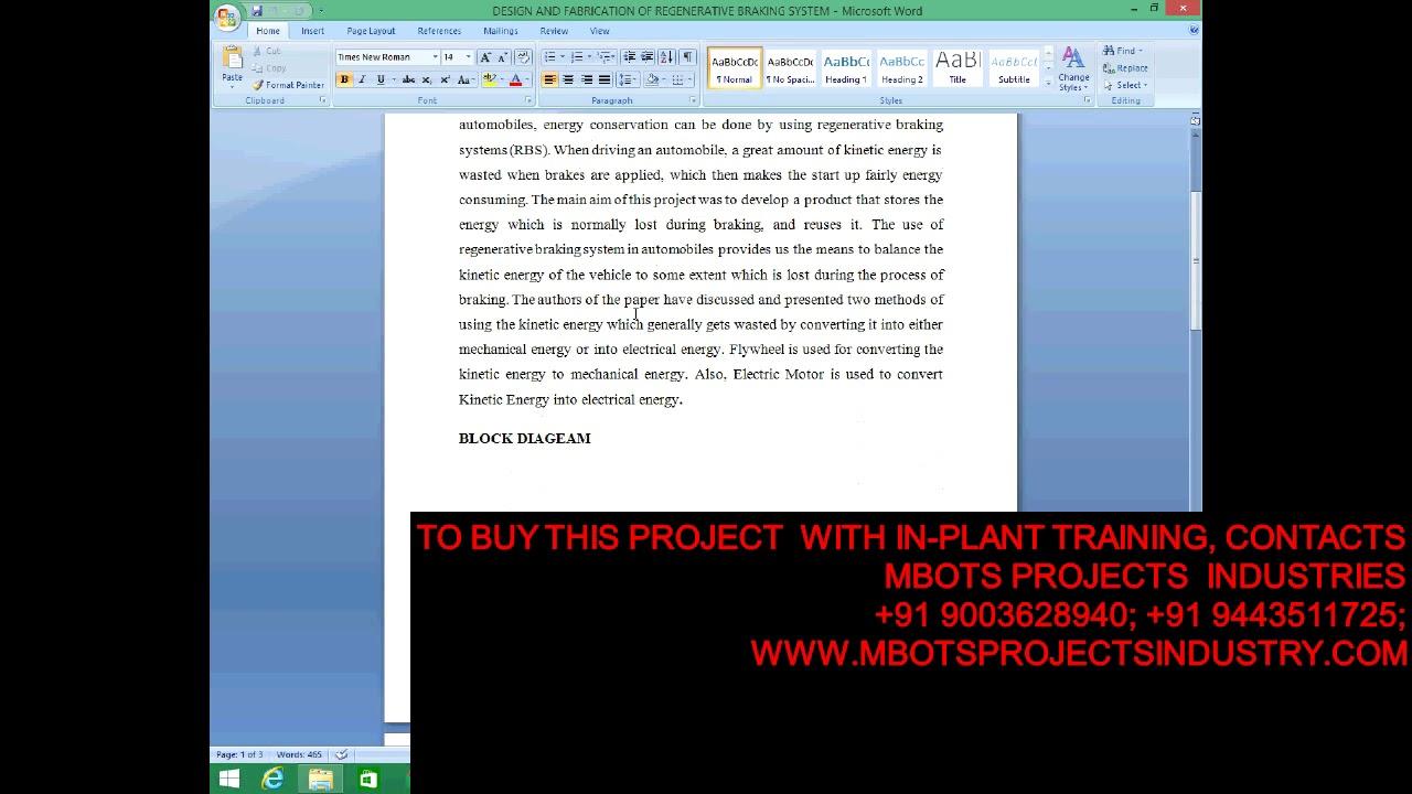 DESIGN AND FABRICATION OF REGENERATIVE BRAKING SYSTEM