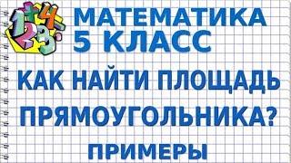 МАТЕМАТИКА 5 класс. КАК НАЙТИ ПЛОЩАДЬ ПРЯМОУГОЛЬНИКА? Примеры