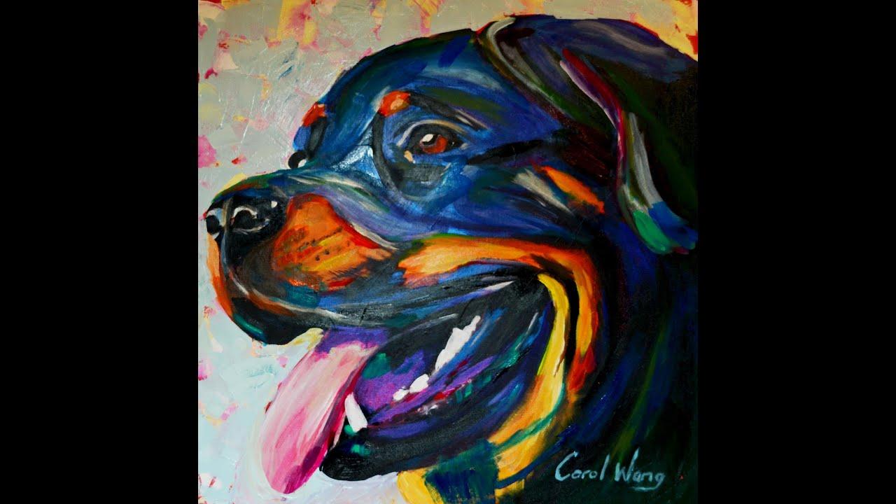 Rottweiler dog pintura acr lica sobre tela youtube - Pintura esmalte acrilico ...