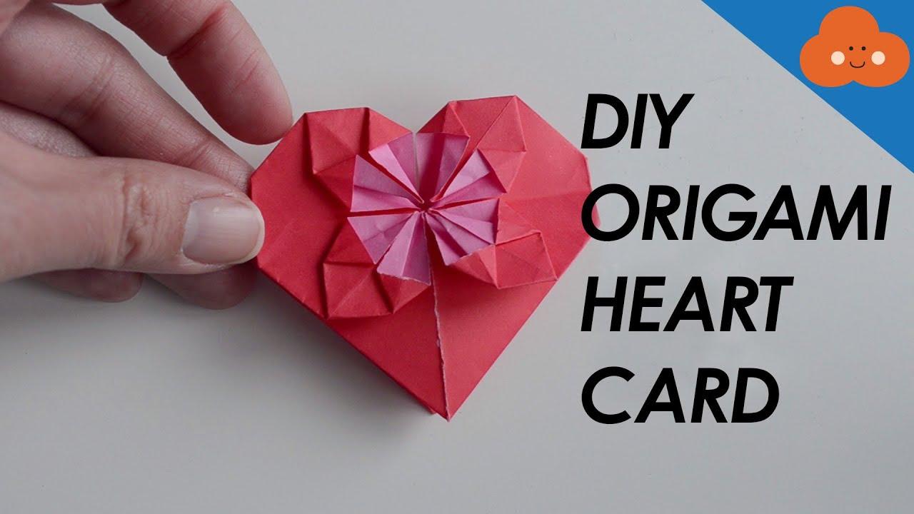 diy origami heart card youtube