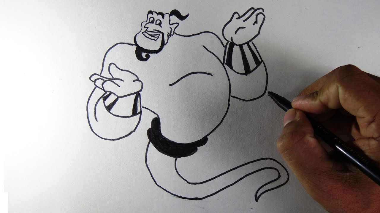 How to draw genie from aladin cartoon film youtube