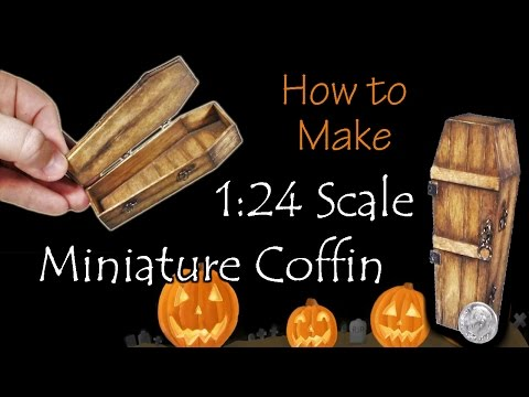 Miniature Coffin Halloween Tutorial | Dollhouse | How to Make 1:24 Scale DIY