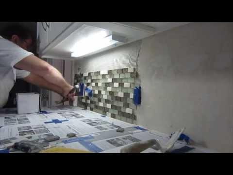 How to install glass mosaic tile backsplash, Part 2 installing the tile