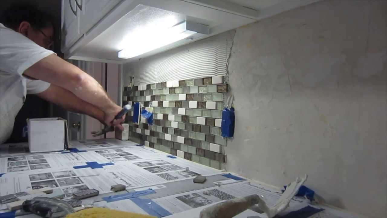 how to install glass mosaic tile backsplash part 2 installing the tile