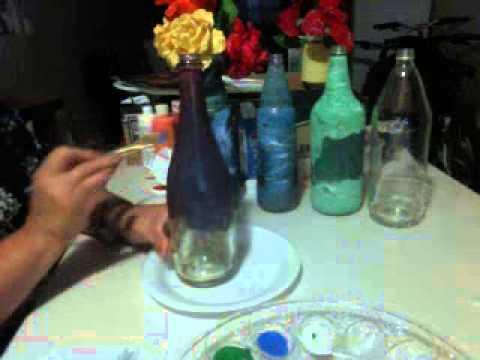 como pintar botellas de vidrio con hojas parte 1