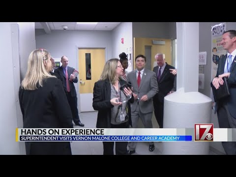 State superintendent visits Vernon Malone College and Career Academy