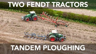Two Fendt Tractors Ploughing Together