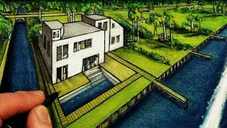 How To Draw House in 2-Point Perspective: Florida
