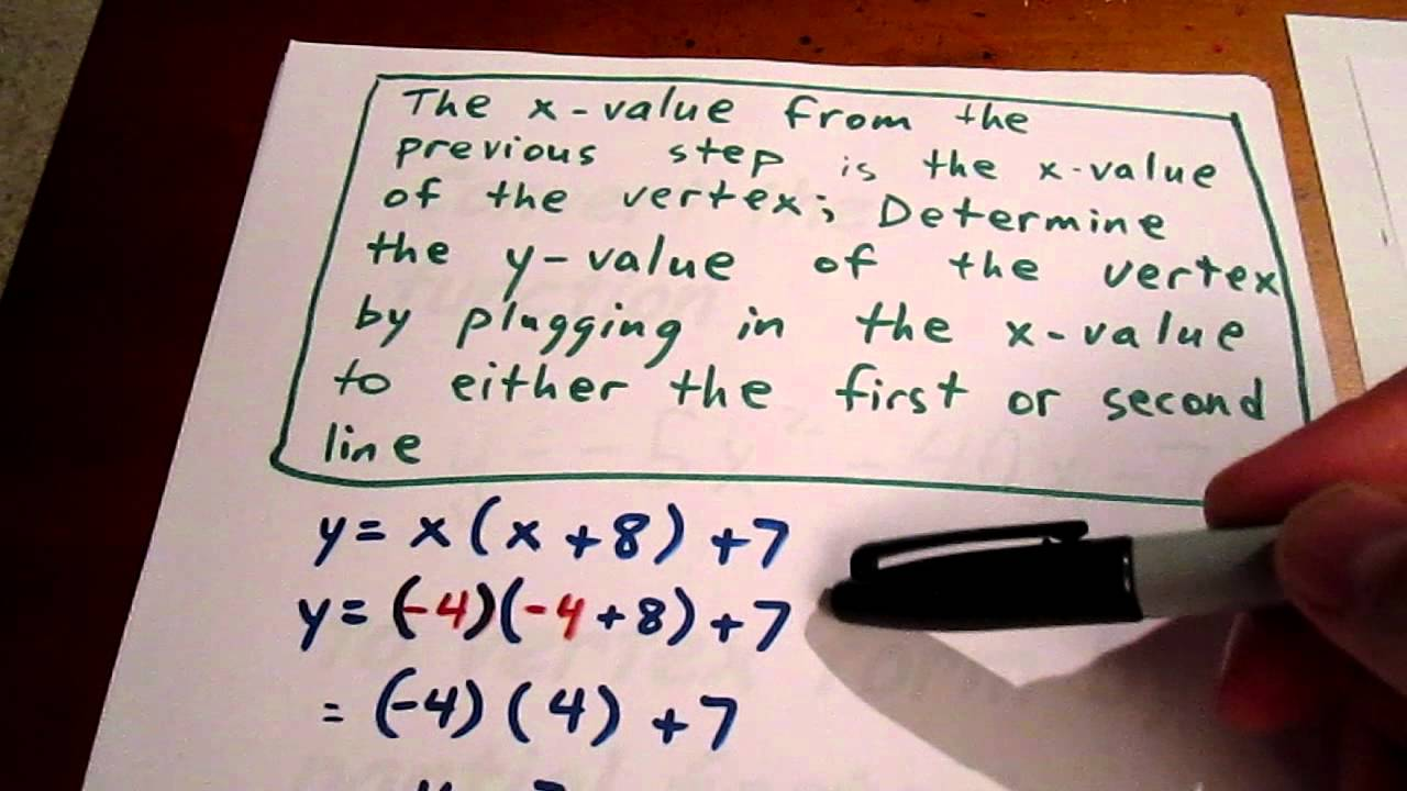 Convert to vertex form by partial factoring - YouTube