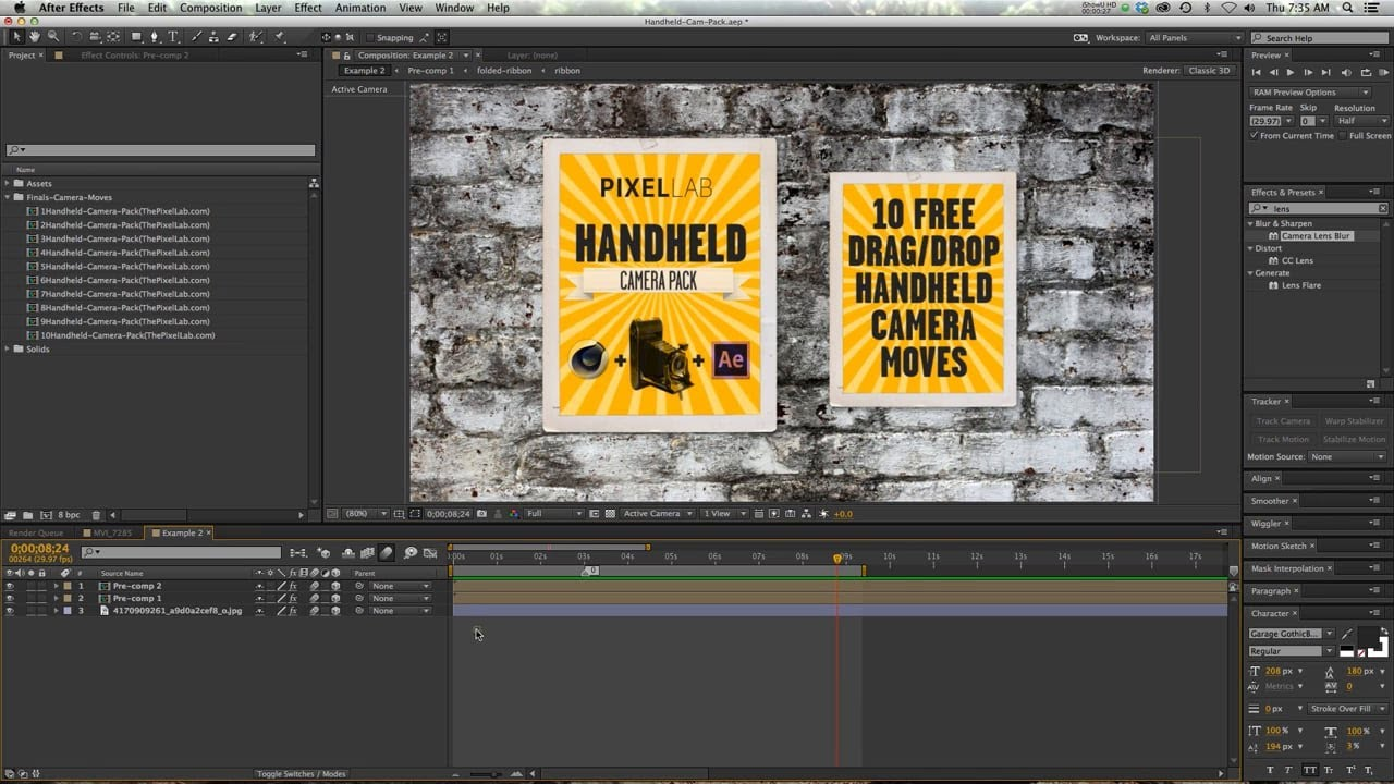 Free Handheld Camera Pack for AE and C4D YouTube t