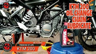 KTM DUKE 200 OIL CHANGE | CHAIN LUBRICATE | MOTUL OIL |