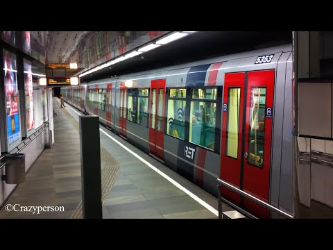 RET metro op station Leuvehaven in Rotterdam richting Slinge
