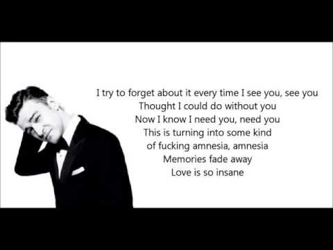Amnesia - Justin Timberlake (Lyrics) 2013