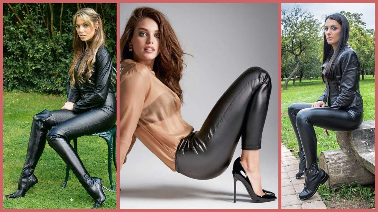 fashionable ultra-modern and trendy shiny tight leather pants outfits ideas for ladies