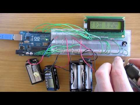 Arduino 4 Channel Voltmeter with LCD
