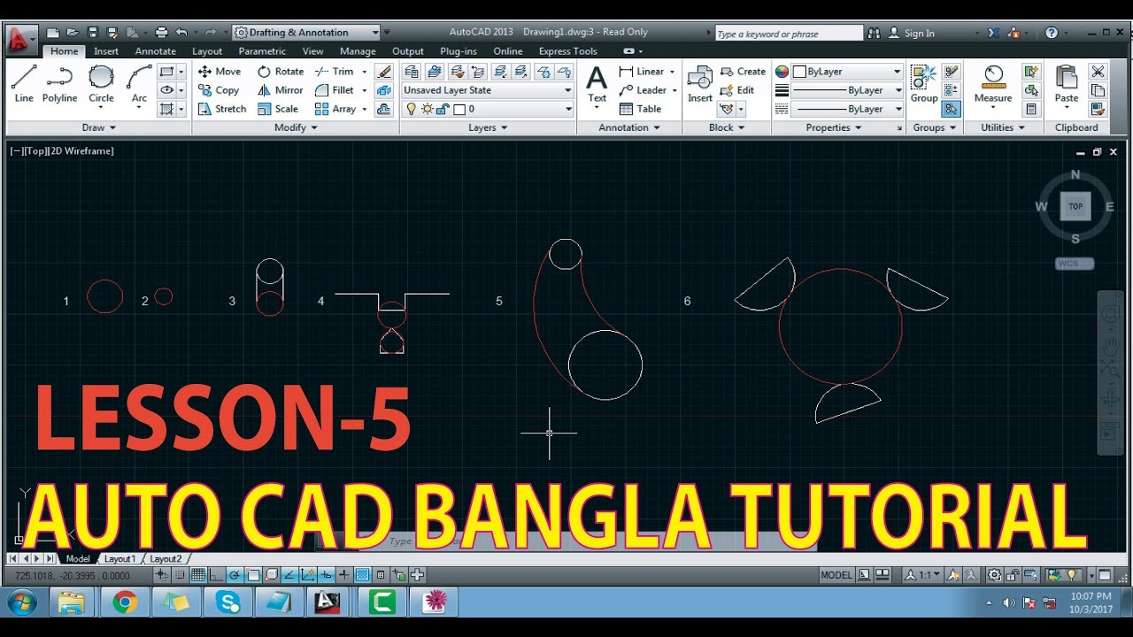 Auto Cad Tutorial Easy Technic Part 5