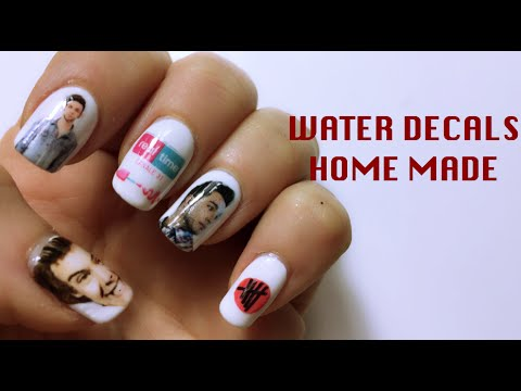 DIY WATER DECALS HOME MADE Nail Art Tutorial Mikeligna YouTube - How to make nail decals at home