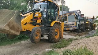 Heavy weight Lorry stuck in mud place and  Rescue two JCB 3dx machine