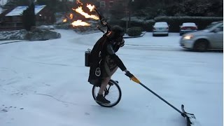 Unipiper Plays Flaming Bagpipes on a Unicycle in the Snow | ABC News