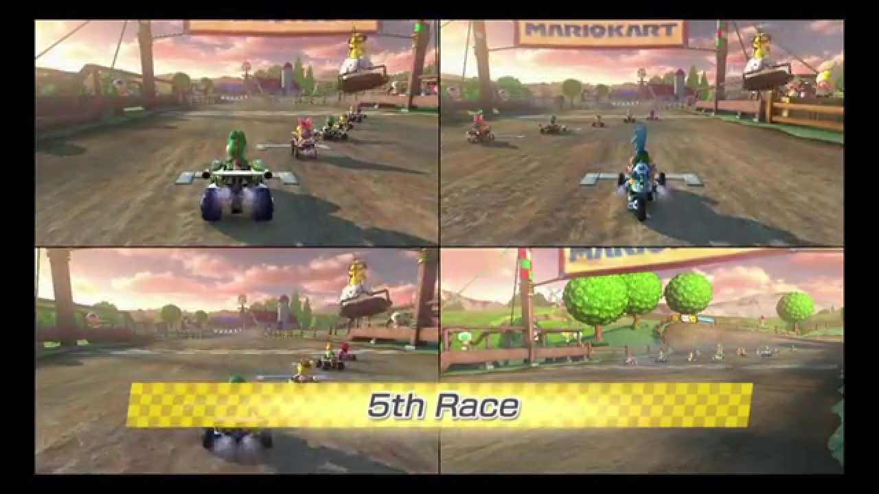 Mario Kart 8 3 player VS Race all 32 tracks in Frantic mode
