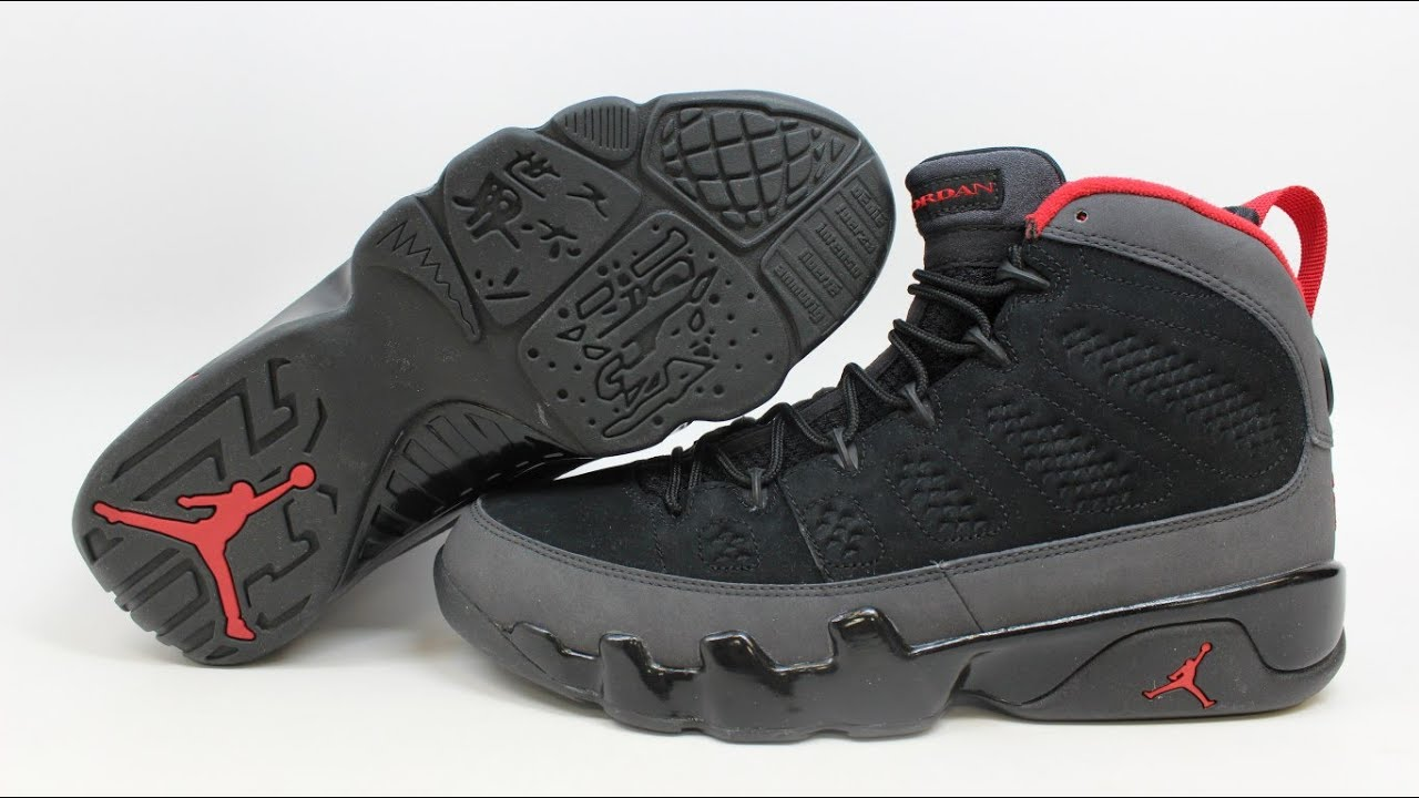 air jordan 9 retro black\/varsity red-dark charcoal chimney