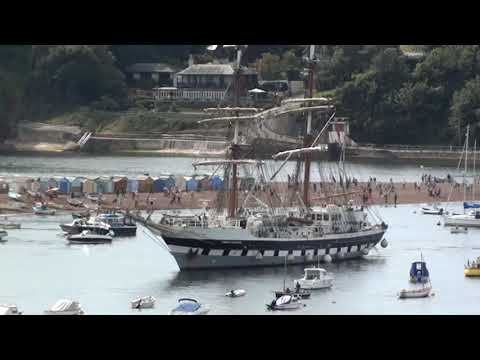 "Tall Ship ""Stavros S Niarchos"" arrives in Teignmouth Devon"