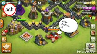 Clash Of Clans Th9 3 star war strategy- Go va bo wi without queen