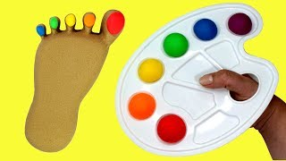 Learn Colors Kinetic Sand Foot Rainbow Toe Painting Kinetic Sand Video Compilation for Kids