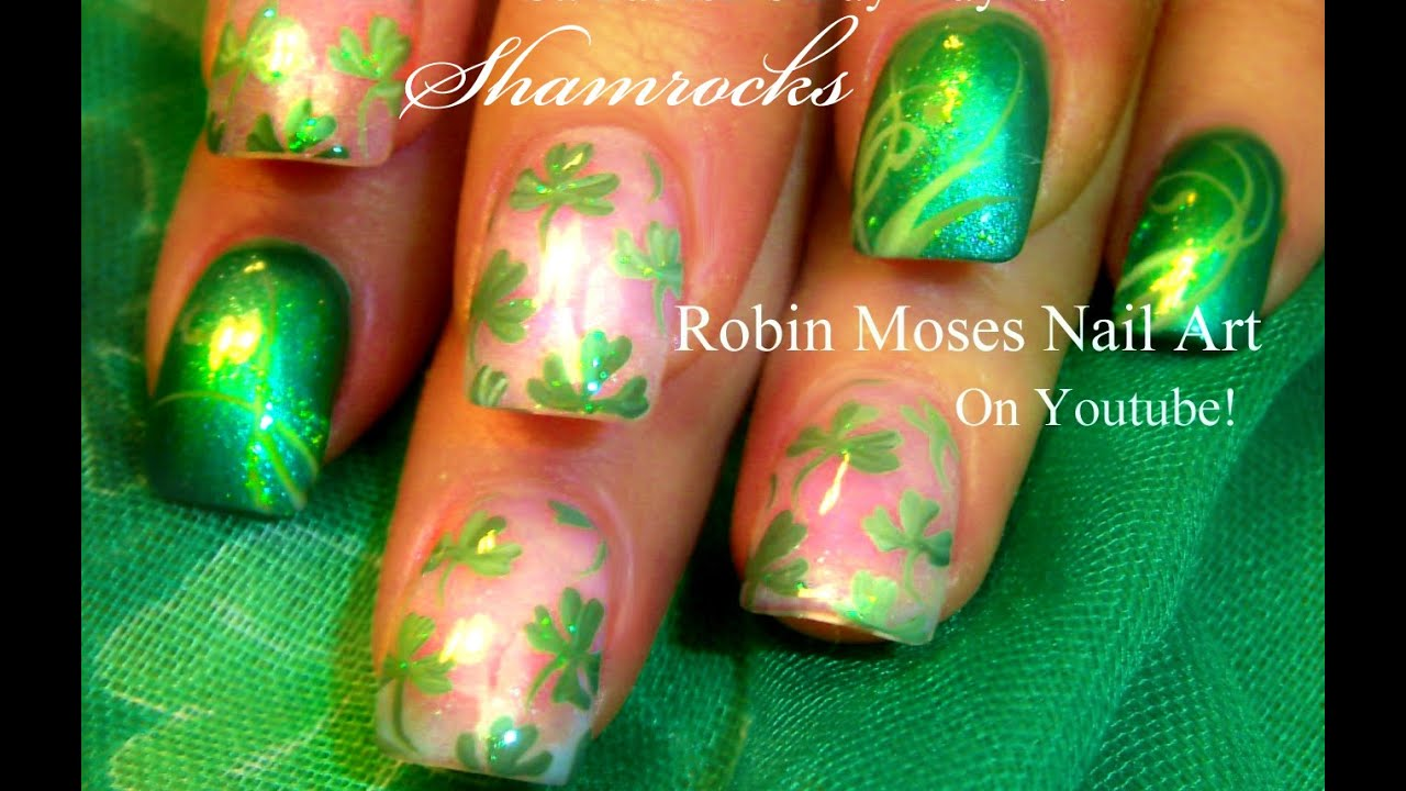 Easy St. Patricks Day Shamrock Nails Art Design - YouTube