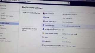 How disable SMS - Texte Message notification from facebook
