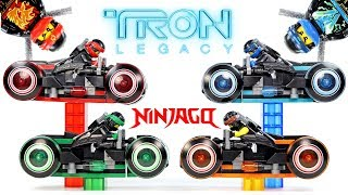 Ninjago TRON Legacy w/ Light Cycles Unofficial LEGO Set & Minifigures