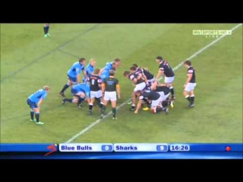 Sibosiso Sithole's brilliant dive and try against the Blue Bulls (03-09-2011)