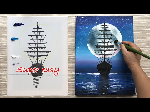 Super easy painting  Moonlight night sky with a lonely ship | For Beginers
