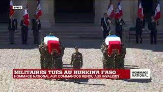 Hommage national aux deux commandos : l'arrivée des cercueils dans la cour des Invalides