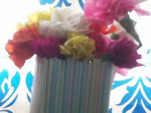 How To Make A Beautiful Flower Vase With Plastic Drinking Straws